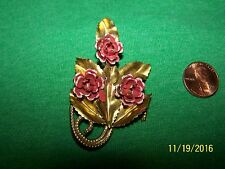 Made in England Metal Leaves and Flower Brooch.
