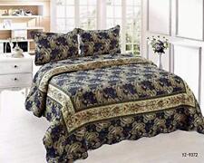 Luxury 3pc 100% Cotton Paisley King Size Bedspread Set Quilt Comforter 230x250cm