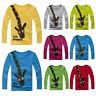 Kids Toddler Boys Girls Long Sleeve Giraffe Tops Basic Tee Shirt Blouse 2-7 Yrs