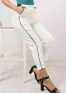 Womens Size Medium Cream textured tapered Elasticated Waist Trousers