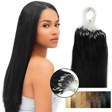 """16""""-26"""" Micro Ring Beads Loop Tip Remy Human Hair Extensions Straight Jet Black"""