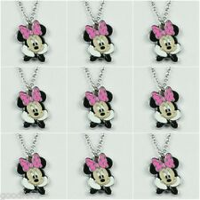 LOT 9pcs DISNEY MINNIE MOUSE HOT PINK BOW NECKLACES BIRTHDAY PARTY FAVORS GIFTS