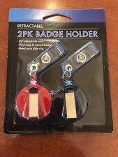 Retractable ID Card Holder Reel Badge Key Tag Clip 2 Pk Black & Red