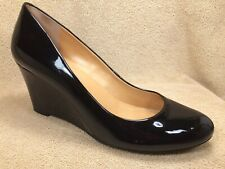 J. Crew Black Patent Faux Leather Closed Toe Wedge Classic Pumps Womens 9.5