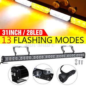 "31"" 28LED Truck Front Emergency Warning Flash Strobe Light Bar Lamp Suction   ~"
