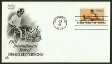 #1925 18c Disabled Doesn't Mean Unable, Art Craft FDC **ANY 4=FREE SHIPPING*