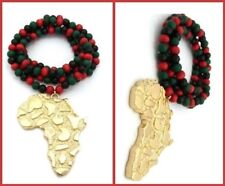 Red Green Black Bead Wood Necklace Gold Africa Continent Map Pendant Hip Hop NEW