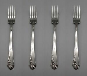 Oneida Stainless Flatware DAMASK ROSE Dinner Forks - SET OF FOUR * CUBE