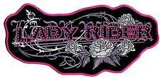 LADY RIDER ROSES Ladies Motorcycle MC Club Pink LARGE BIKER Back PATCH LRG-0433