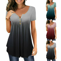 Womens T-Shirt Gradient Tunic Short Sleeve Loose Tee Shirts Summer Casual Tops