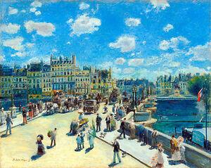 Pont Neuf Paris A1+ by Pierre Auguste Renoir High Quality Canvas Print