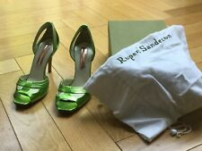 rupert sanderson metallic green stiletto shoes