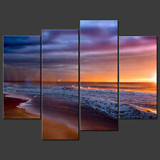 SUNSET BEACH BLUE SPLIT CANVAS WALL ART PICTURES PRINTS LARGER SIZES AVAILABLE