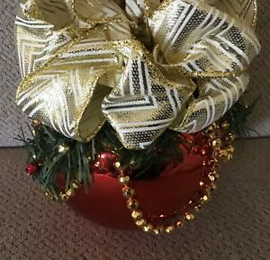 """Large 12"""" red decorated holiday ornament gold beads ribbon greenery"""
