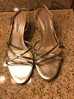 VIA SPIGA Gold Strappy Leather Sandals Heels Size 10 M