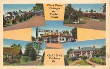 Linen Postcard Pines Camp Cottages and Trailer Court in Valdosta, Georgia~129664