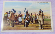 Native American Osage Indian Dancers Postcard Oklahoma Curteich ONC-89 Vintage