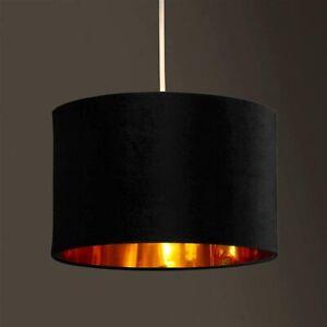 CGC Black Velvet Gold Inner Drum Table Lamp Ceiling Lounge Bedroom Pendant Shade