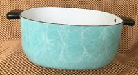 Teal Blue And White Swirl Enamelware  Square Cooking Pot With Handles