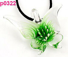 Lifelike green Butterfly art glass beaded pendant necklace p0322