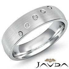 Half Eternity Wedding Band 18k White Gold Mens 5 Bezel Round Diamond Ring 0.25Ct