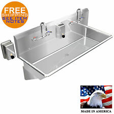 "HAND SINK INDUSTRIAL MULTISTATION 2 USERS 42"" STAINLESS STEEL MADE IN AMERICA"