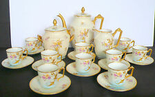 Limoges GUERIN Porcelain Tea Coffee Pot Creamer Sugar 10 Demitasse Cups Saucers