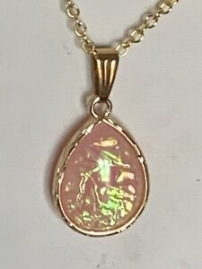 """NEW ITEM-SHIMMERING DICHROIC PINK FIRE OPAL GLASS  NECKACE W/NEW 18"""" CHAIN"""