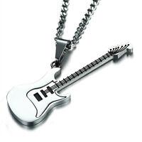 1 Stück E-Gitarre Form Edelstahl Anhänger Halskette 24 '' Kette Musik Schmuck