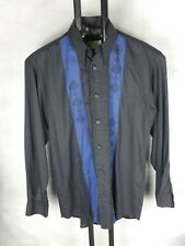 Originales Vintage 90er langarm Hemd Fairbanks schwarz blau mens shirt 38 S