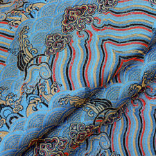 Vintage Chinese Damask Brocade Fabric Satin Faux Silk Wave for Hanfu Kimono DIY