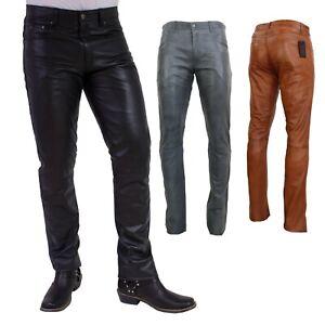 Homme Pantalon en Cuir Bono Slim Fit En Nappa Agneau Cuir Noir, Gris, Cognac
