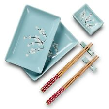 New listing Panbado Ceramic Japanese Sushi Plate Set 8 Piece Sushi Serving Set Blue-2 People