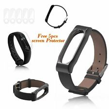 Leather Wrist Band Strap Replacement For Xiaomi Miband 2 + 5pcs screen protector
