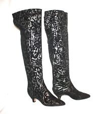 WALTER STEIGER BLACK SUEDE SILVER/GOLD TEXTURED OVER THE KNEE BOOTS SZ 38.5