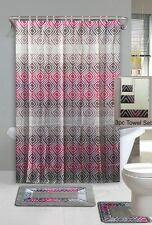 19PC TAUPE SUFYAN SET BATHROOM SHOWER CURTAIN W/RINGS LINER CONTOUR MAT 3 TOWEL