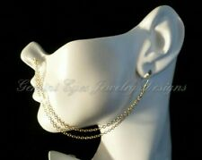Handmade Gold Plated Double Ear To Nose Chain Bohemian Gypsy Festival Jewelry