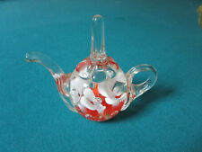 Joe St Clair glass paperweight White And Red Flowers Trumped Flowers signed