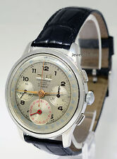 Suisse Triple Calendar Chronograph 17J Stainless Steel 38mm Mens Watch