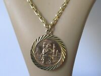 9ct Gold Necklace - Vintage 9ct Yellow Gold St Christopher Round Pendant & Chain