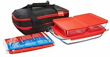 Pyrex Portable 9-Piece Double Decker Set, includes 1-ea 3-qt Easy GrabOblong,Red