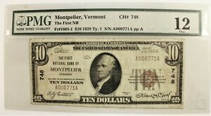 1929 $10 National Banknote MONTPELIER Vermont * PMG Fine 12 * Charter #748