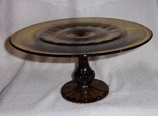 Thumbprint Bullseye Pattren Vintage Amber Glass Cake Stand
