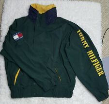 Tommy Hilfiger Men's S Hooded Flag Spellout Windbreaker Jacket 90s Vented Green