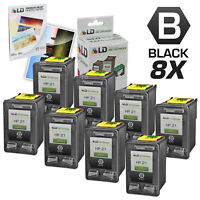 LD Remanufactured Replacement Ink Cartridges for HP 21 C9351AN Black 8pk