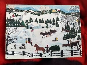 Grandma Moses style oil painting 1950s 10 x 14 inches