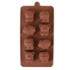 8 Animals Lion Bear Hippo Silicone Mould Chocolate Fondant Jelly Ice Cube Mold