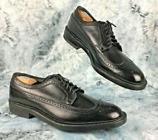 Hanover LB Sheppard Sig Mens Black Leather Wingtip Full Brogue Shoes Sz12 C/A