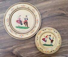 Vintage Wooden Bulgaria Folkart Plates Carved Set of 2