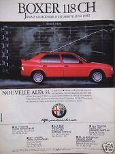 PUBLICITÉ 1987 ALFA ROMÉO 33 BOXER 118 CH - ADVERTISING